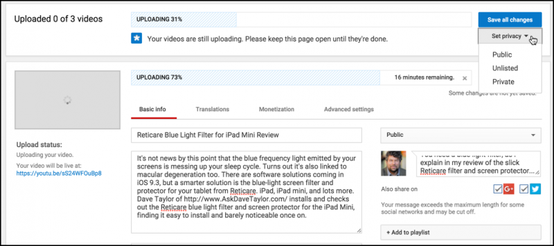 upload a video on youtube, behind the scenes, form, title, description, keywords