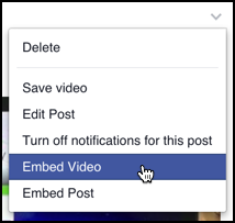 embed video option from facebook