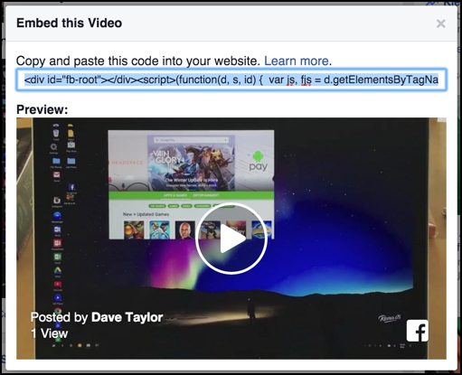 how to embed video - html javascript code - from facebook to blog