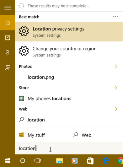 "search for ""location"" in cortana windows 10 win10"