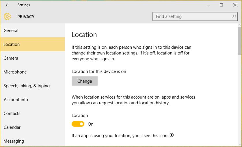 location settings, windows 10 win10