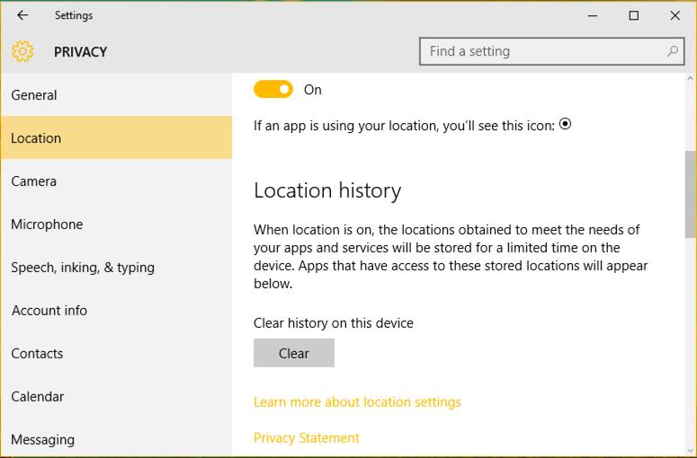 location history settings, windows 10