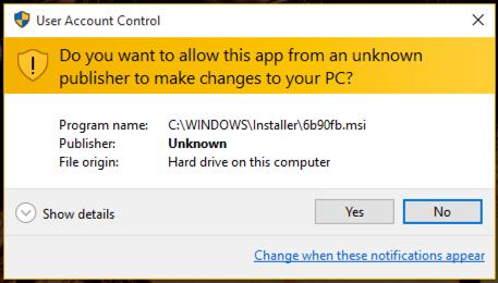 give windows permission to delete remove uninstall app program?