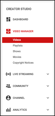 video manager menu options, youtube