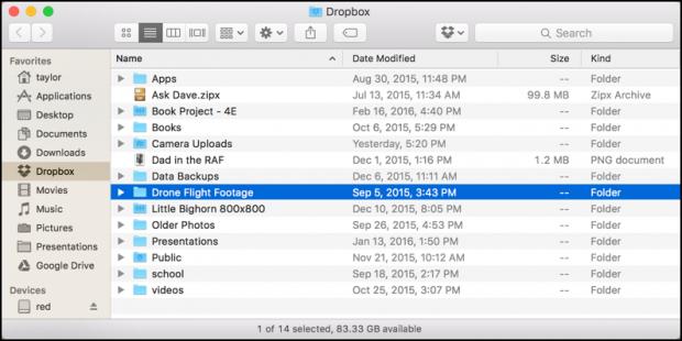 how to use drop box folder on mac
