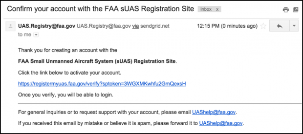 verify your email address, faa drone registration Web site