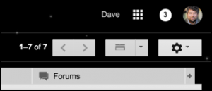 notifications from google plus pending, top of gmail window