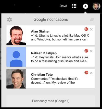google plus notification window, gmail