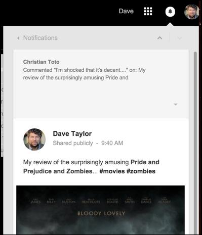 google plus notification window, detail view, gmail