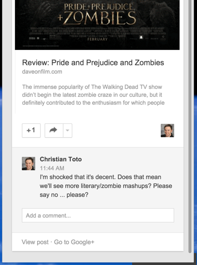 google+ plus notification window, add comment, +1