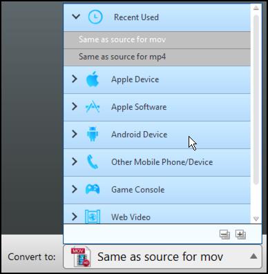 choose an output format, m4vgear