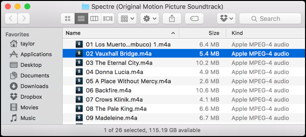 m4a files from itunes purchased music in mac finder