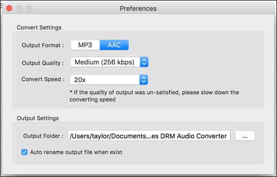 settings preferences noteburner drm removal itunes
