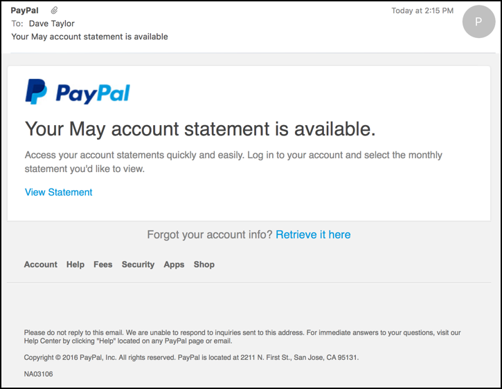 paypal phishing email message - statement available