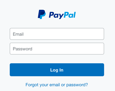 bogus login screen, paypal phishing site