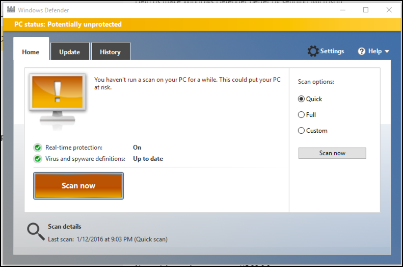 how to use microsoft windows defender win8 win10