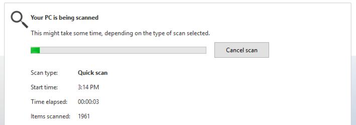 windows defender running scan