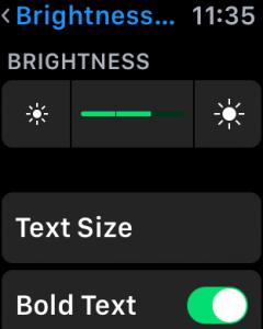 apple watch os 2 settings brightness text size