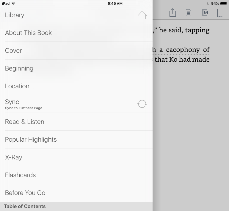 kindle ios 9 app reading menu