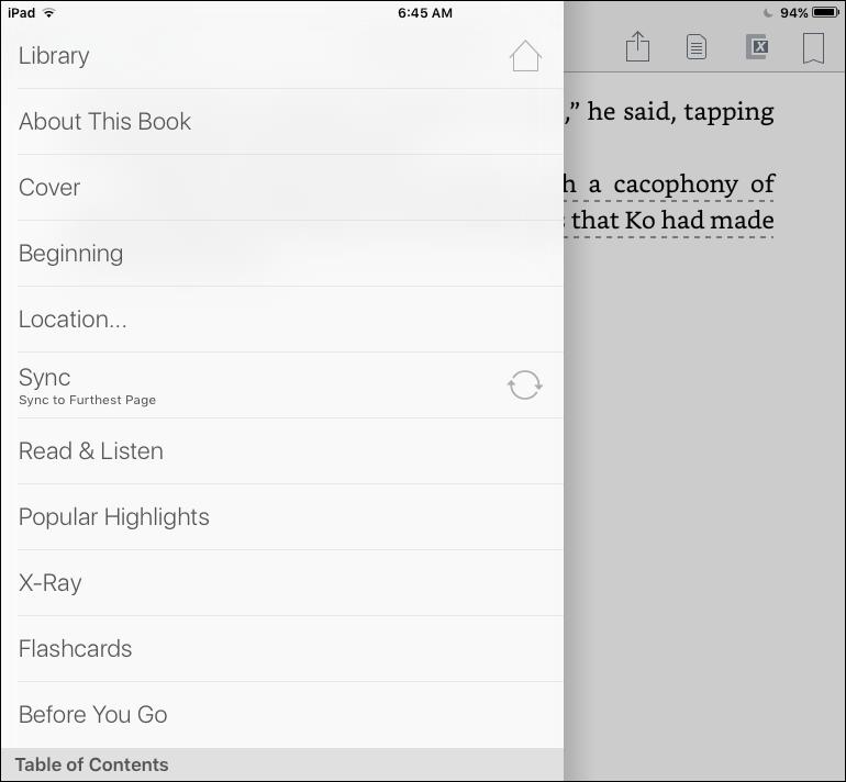 kindle ios 9 app reading menu