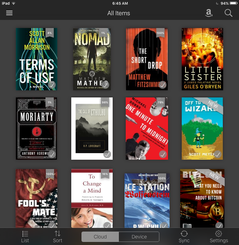 how to go back to library amazon kindle ios