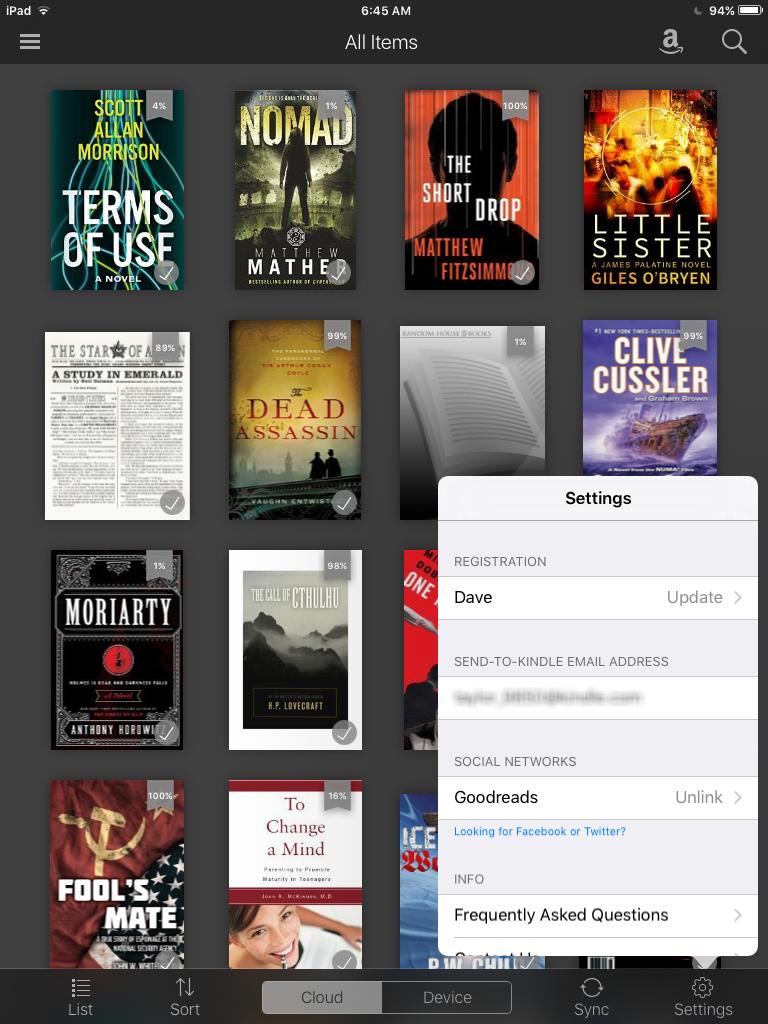 preferences settings options menu pop-up kindle app iphone ipad pro