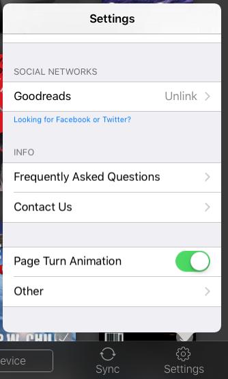 more options, settings preferences menu, kindle app ios