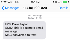 text message from at&t gateway email sms ios iphone