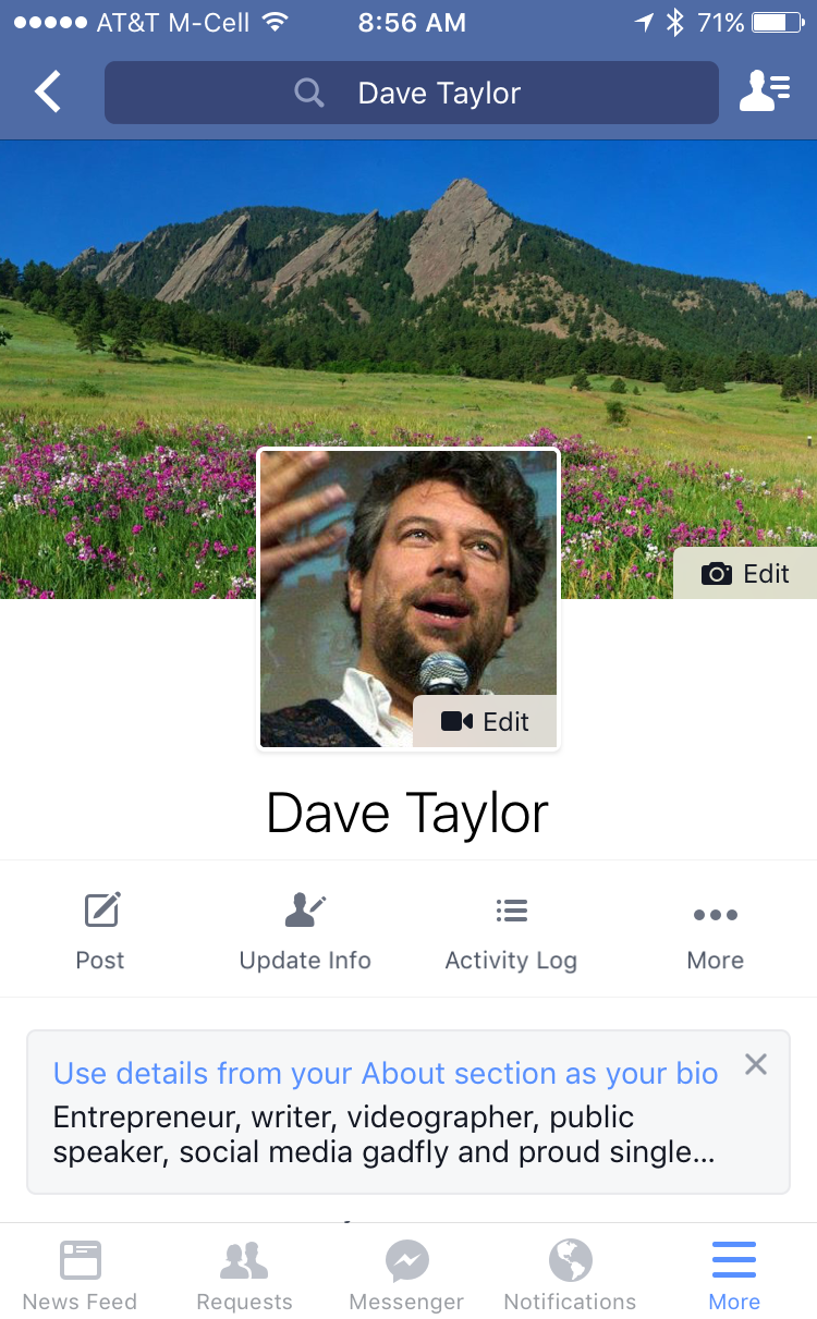 dave taylor my profile page, facebook for mobile smartphone iphone ios