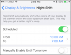 how to enable turn on night shift blue light filter ios 9.3 iphone ipad