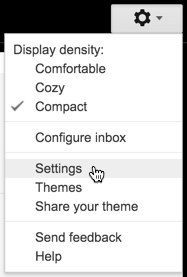 "gmail menu ""settings"""