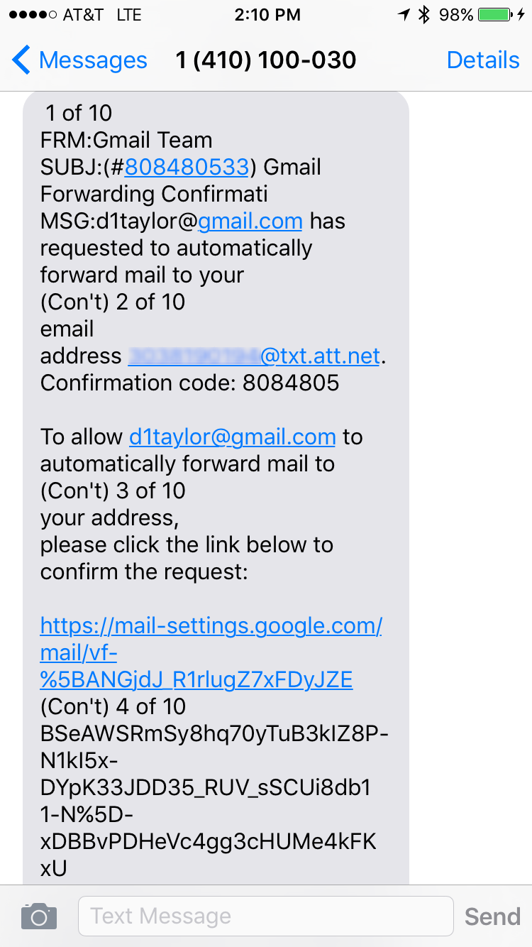 iphone sms text message confirm gmail forward