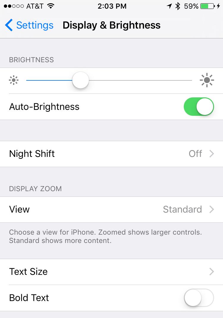 display and brightness menu options preferences, ios 9.3