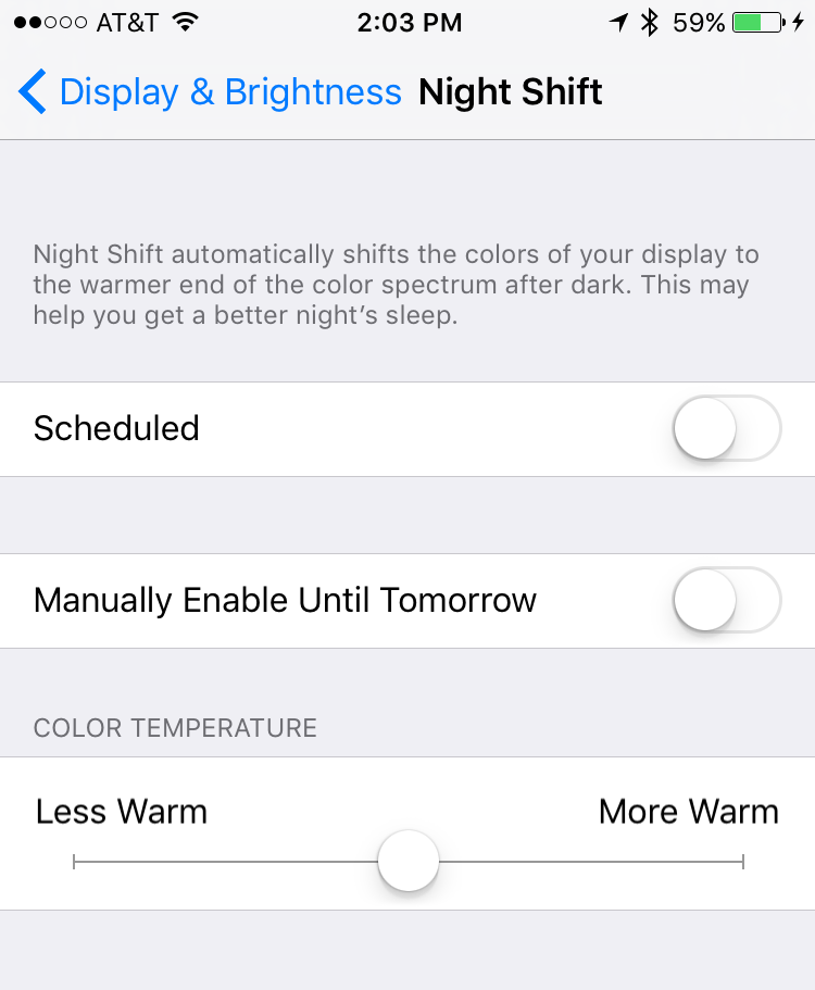 settings > display and brightness > night shift how to enable turn on ios 9 iphone ipad