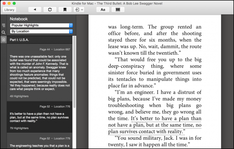 popular highlighted passages, kindle app, mac os x imac macbook