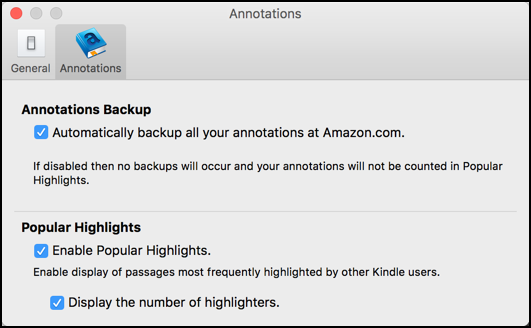 kindle on mac / preferences / annotations / disable popular highlights