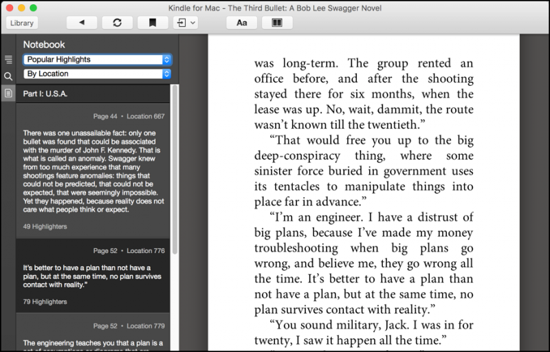 kindle mac app, no popular highlights shown, notebook view