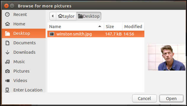 linux photo browser window