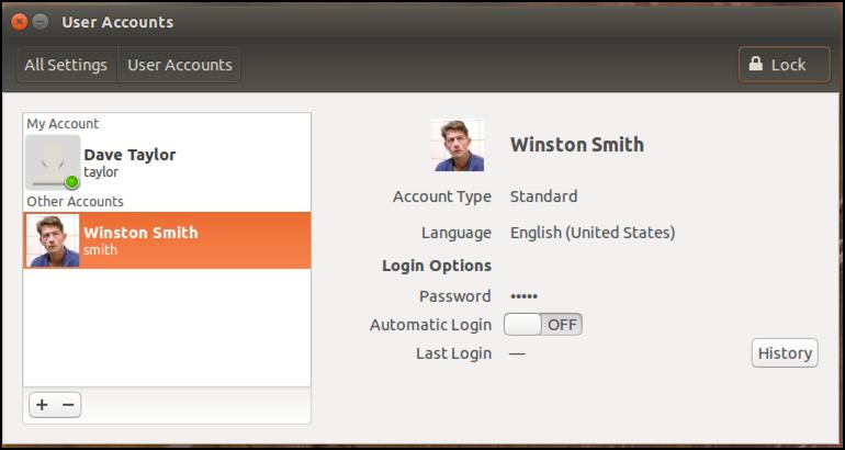 ubuntu linux user profile with photo set
