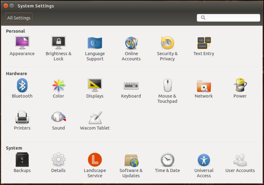 ubuntu linux 15.10 system settings main window