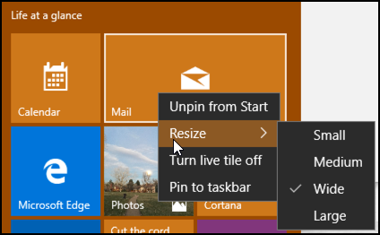 right click on a tile, start menu, windows 10 win10.1