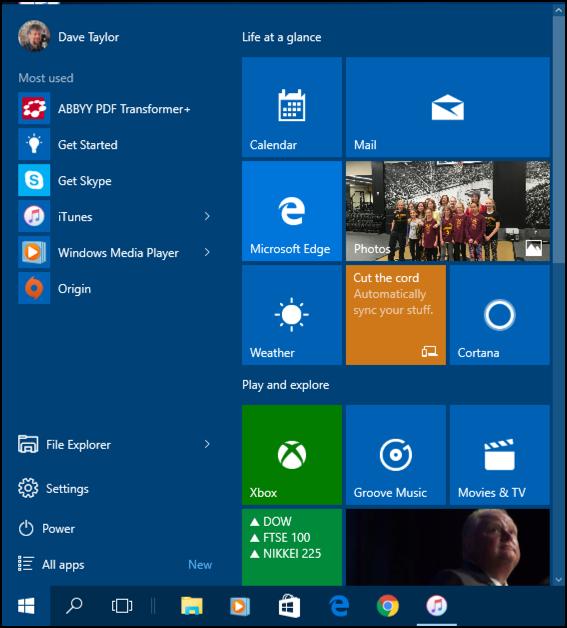 windows 10.1 win10.1 start menu dark blue background