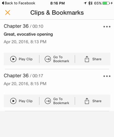 list of clips clip audible app audible.com iphone app ios