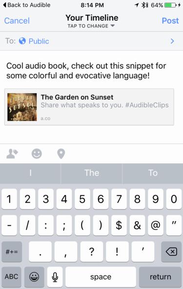 post audible audio book clip facebook
