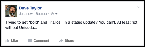 bold and italics in a facebook status update? not this time.