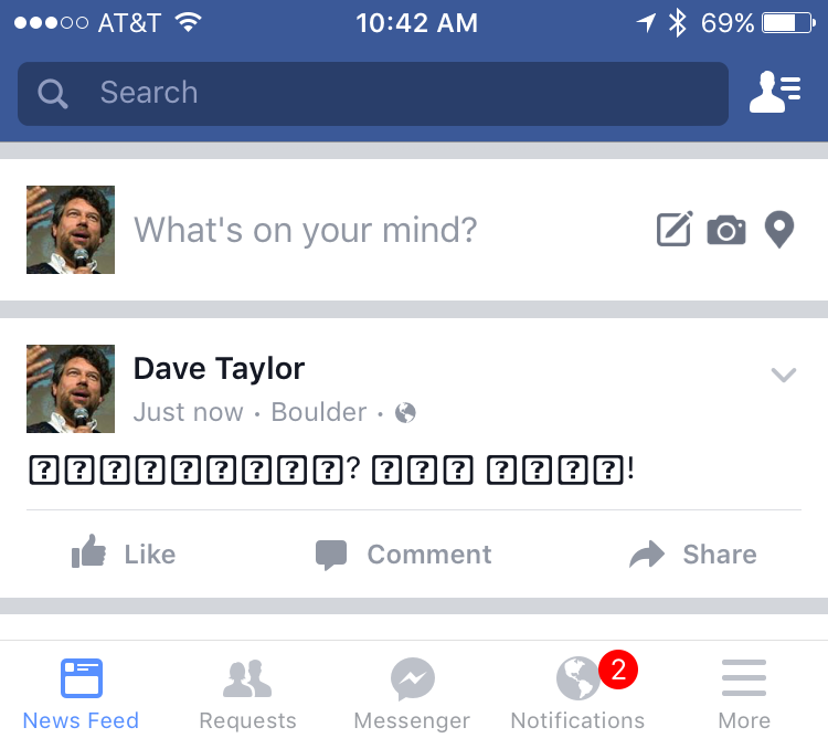 unicode facebook status update breaks mobile facebook app