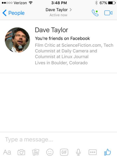 chat with dave taylor in facebook messenger