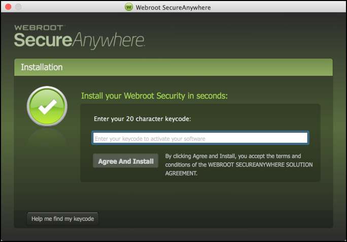 enter email address, webroot secureanywhere install