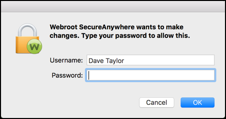 grant webroot secureanywhere mac permission install