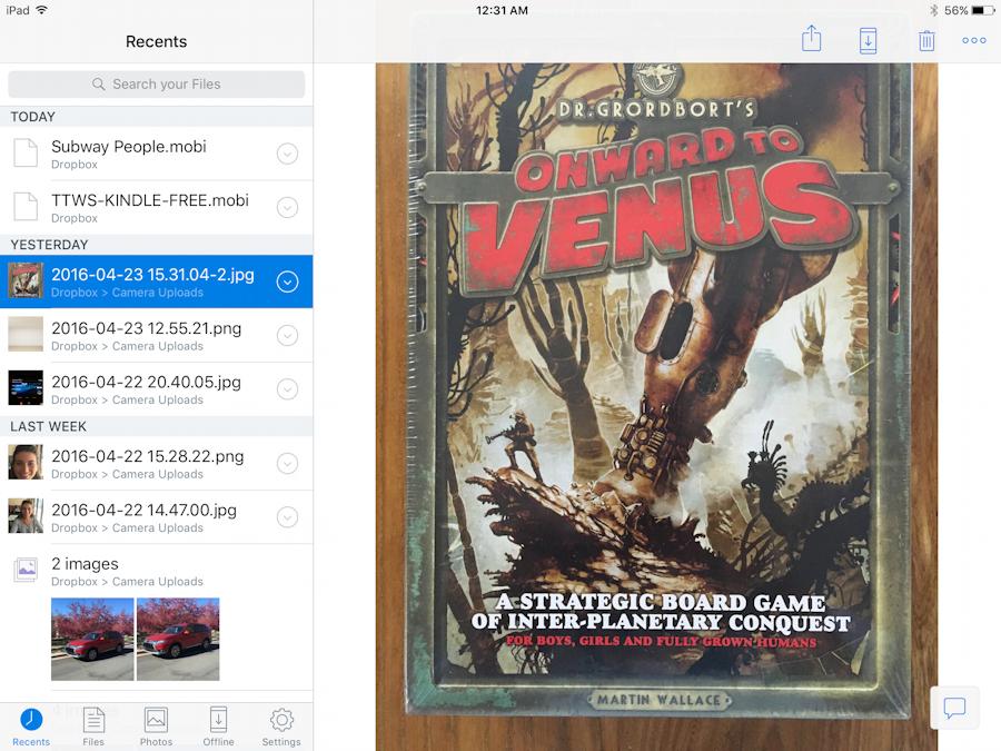 dropbox app ios 9 - mobi kindle file book ebook manuscript